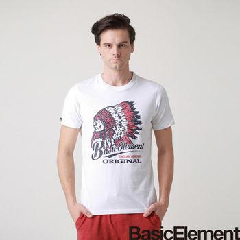 【BasicElement】男款印地安酋長T(白) +  男款勇者之翼T(灰)
