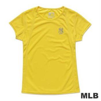 MLB-紐約洋基隊運動合身印花T恤-淺黃(女)