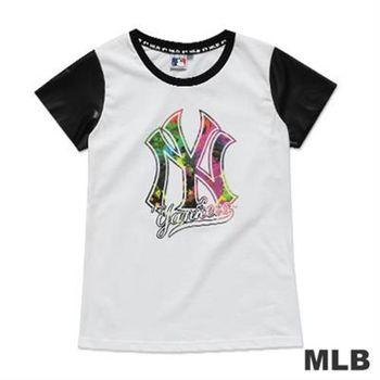MLB-紐約洋基隊皮袖圓領絢彩印花T恤-白(女)