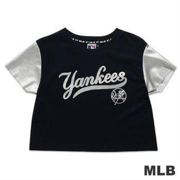 MLB-紐約洋基隊短版皮袖印花T恤-深藍(女)
