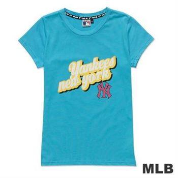 MLB-紐約洋基隊立體文字純棉短袖T恤-淺藍(女)