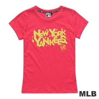 MLB-紐約洋基隊立體光澤汽泡造型短袖T恤-深粉紅(女)
