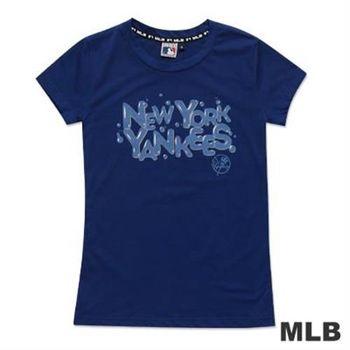 MLB-紐約洋基隊立體光澤汽泡造型短袖T恤-深藍(女)
