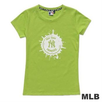 MLB-紐約洋基隊牛奶噴濺棒球造型短袖T恤-淺綠(女)