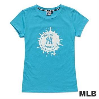 MLB-紐約洋基隊牛奶噴濺棒球造型短袖T恤-淺藍(女)
