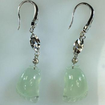 【森茂珠寶】緬甸天然翡翠A貨 玻璃種知足常樂耳環 F2041