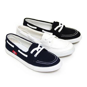 【Pretty】小清新綁帶平底休閒帆布鞋-深藍、白色、黑色