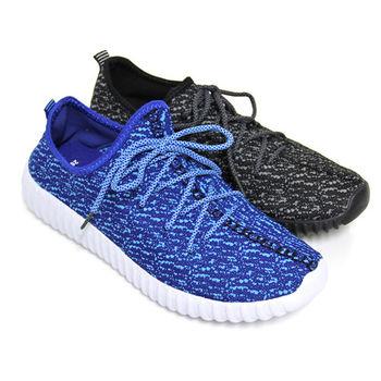 【Pretty】男款編織感厚底綁帶休閒鞋-藍色、黑灰