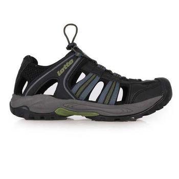【LOTTO】男護趾運動涼鞋 -休閒涼鞋 排水 黑深綠