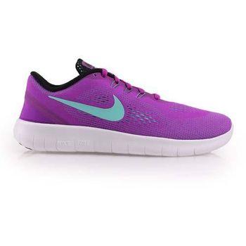 【NIKE】FREE RN -GS 女慢跑鞋 - 路跑 輕跑鞋 紫湖水藍