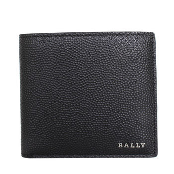 BALLY 金屬LOGO皮革(透明層)短夾(黑)