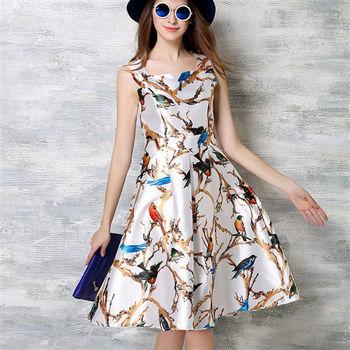 【理子時尚】時尚印花修身無袖洋裝