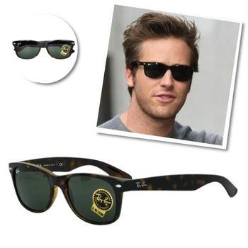 【Ray Ban 雷朋】2132F-902L -Wayfarer經典太陽眼鏡 (琥珀框綠鏡片#加大版)