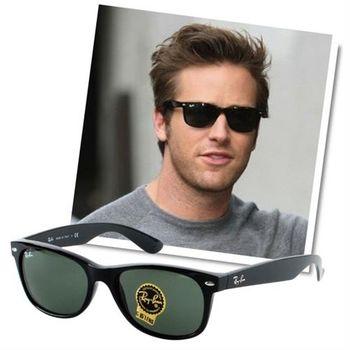 【Ray Ban 雷朋】2132F-901L 專為亞洲人設計太陽眼鏡(亮黑框綠鏡面#加大版)