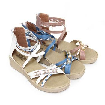 【Pretty】清新甜美編織雙色交叉繫踝厚底涼鞋-粉紅色、白色、藍色