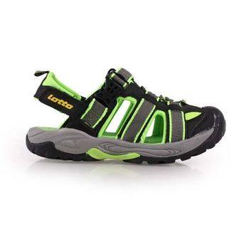 【LOTTO】男大童護趾涼鞋-拖鞋 游泳 休閒 排水 童鞋 黑螢光綠