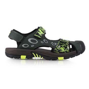 【DIADORA】男護趾運動涼鞋-拖鞋 游泳 休閒 排水 墨綠螢光綠