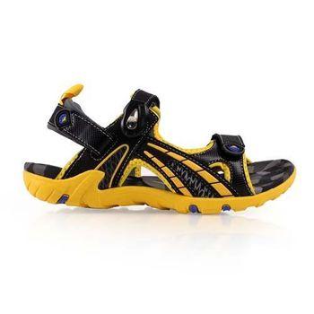 【LOTTO】男大童磁扣運動涼鞋-拖鞋 游泳 休閒 登山 童鞋 黑灰黃