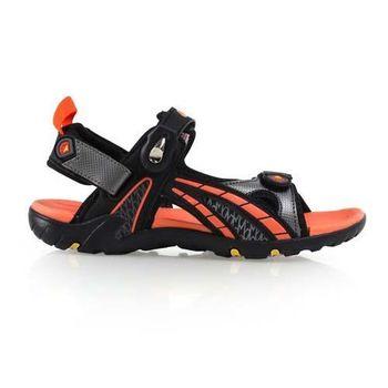 【LOTTO】男大童磁扣運動涼鞋-拖鞋 游泳 休閒 登山 童鞋 橘黑