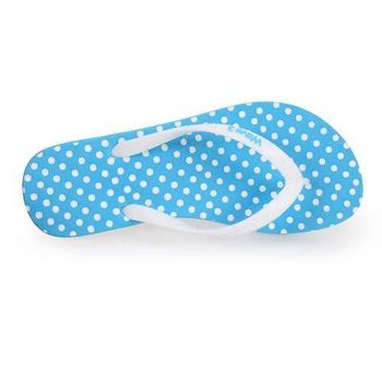 【WAVE3】女水玉點點人字拖-夾腳拖 拖鞋 海邊 台灣製 水藍白