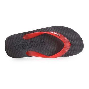 【WAVE3】男果凍耳帶人字拖鞋-夾腳拖 海灘 台灣製 黑紅