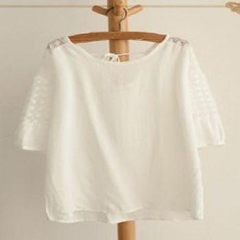 [協賀]白色簡約繫帶五分袖夏季寬鬆上衣