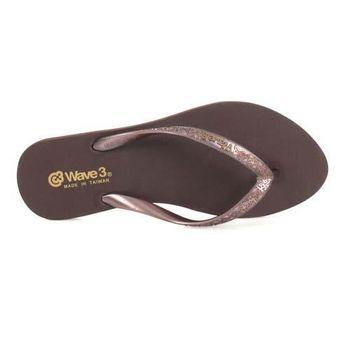 【WAVE3】女珠光金屬LOGO人字拖-夾腳拖 拖鞋 海灘 台灣製 深咖啡金