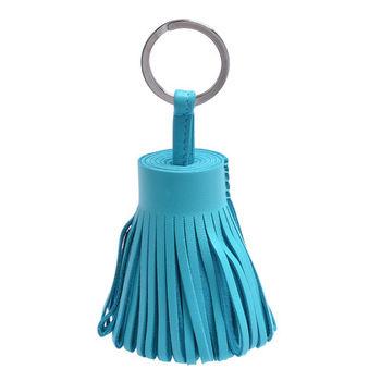 HERMES 流蘇造型山羊皮鑰匙圈手袋吊飾(粉藍色)