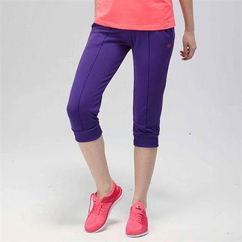【FIVE UP】飽和色彩運動休閒七分褲-紫
