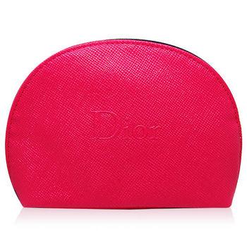 Dior 迪奧 桃紅壓紋化妝包 (橫長14cm 邊寬4cm 直高10cm)