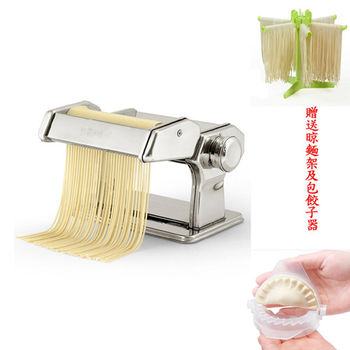 PUSH!廚房用品可作細寬麵餛飩水餃皮的全430不鏽鋼壓麵機麵條機附贈晾麵架及包餃子器