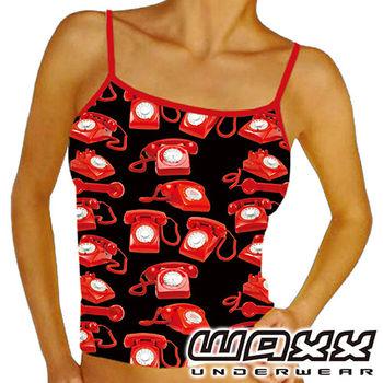 《WAXX》鮮紅復古電話機高質感運動快乾型女細肩帶背心