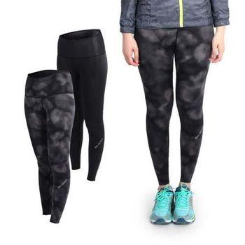 【MIZUNO】BG9000 女緊身長褲-雙面穿- 慢跑 路跑 美津濃 抗UV 黑灰