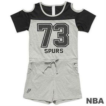 NBA-聖安東尼奧馬刺隊挖肩連身短褲-黑麻灰(女)