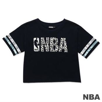 NBA-美國NBA圓領印花壓條短版T恤-深藍(女)