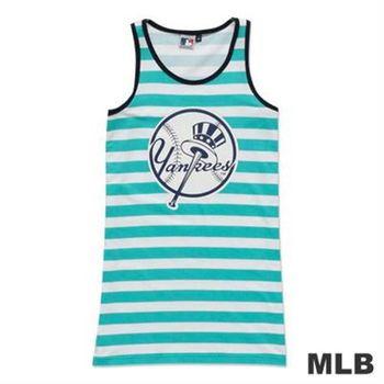 MLB-紐約洋基隊條紋長版印花背心-淺綠(女)