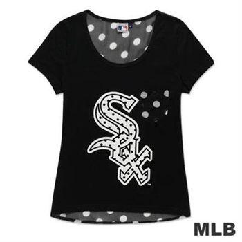 MLB-芝加哥白襪隊雪紡印花T恤-黑(女)