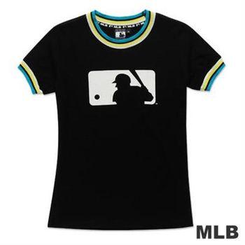 MLB-美國職棒大聯盟LOGO印花撞色造型T恤-黑(女)