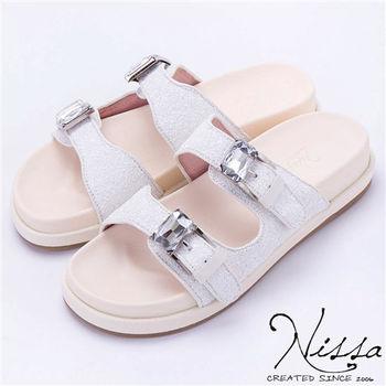 NISSA 勃肯glitter涼鞋 白色