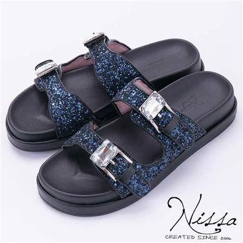NISSA 勃肯glitter涼鞋 深藍