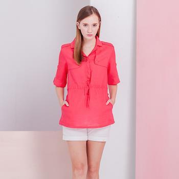 ST. MALO100%天然頂級亞麻法式洋裝襯衫L-XL