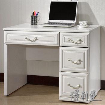 【優利亞-珊朵菈白色】3尺書桌