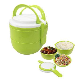 樂活雙層提籃便當盒-綠