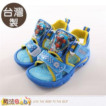 魔法Baby 男童涼鞋 台灣製機器戰士正版閃燈運動涼鞋~sa66006
