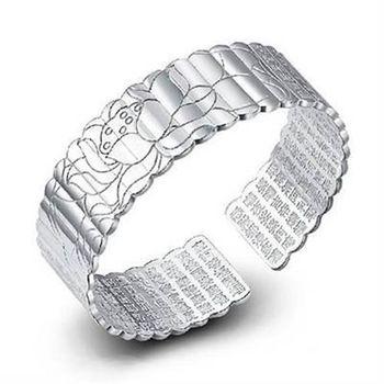 【米蘭精品】925純銀手環手鍊獨特精緻保平安心經風格73ap1