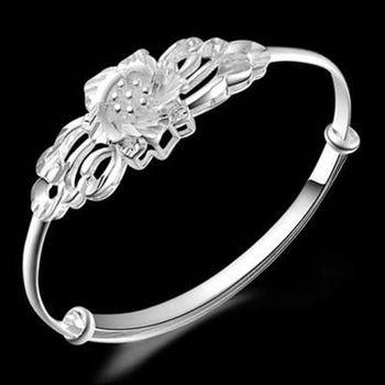 【米蘭精品】925純銀手環手鍊民族特色優雅花風格73ap13