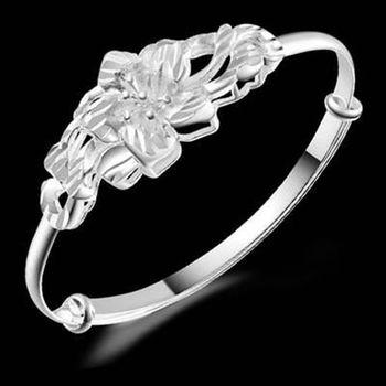【米蘭精品】925純銀手環手鍊優雅柔美高貴花造型73ap14