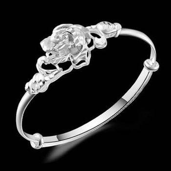 【米蘭精品】925純銀手環手鍊柔美氣質玫瑰花造型73ap17