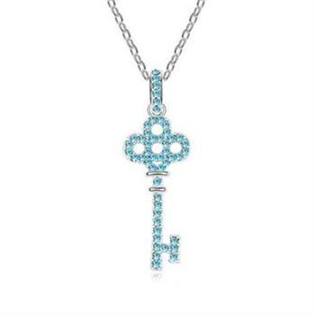【米蘭精品】925純銀項鍊鑲鑽吊墜情人節愛情鑰匙