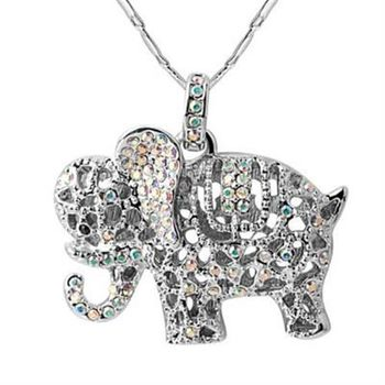 【米蘭精品】925純銀項鍊鑲鑽吊墜俏皮可愛小象造型